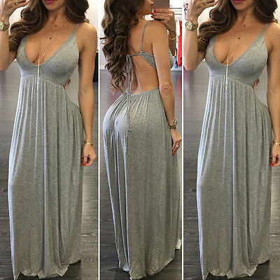 Fashion Women's' Sleeveless V Neck Bodycon Party Cocktail Long Dress Sexy Dress