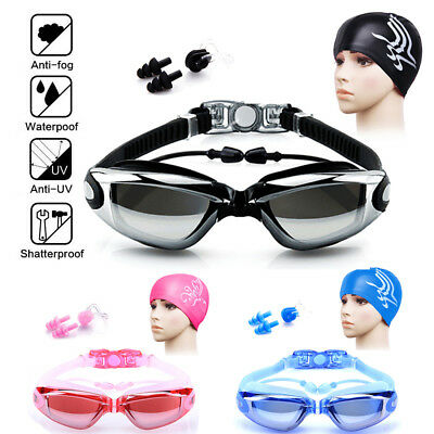 Men Women Non-Fogging Anti UV Swimming Goggle Bundle Swim Cap,Ear Plug,Nose Clip