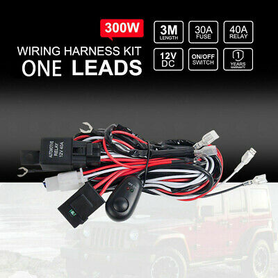 Wiring Loom Harness Kit Relay Switch 40A HID LED Spot Work Driving Light Bar 12V