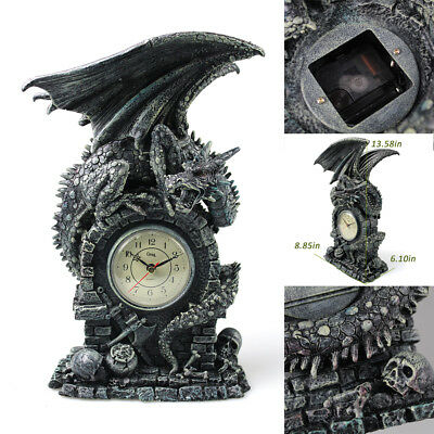 ced16f21cb07 MASCARELLO Medieval Mythical Winged Dragon Statue Mantel Table Clock Home  Décor