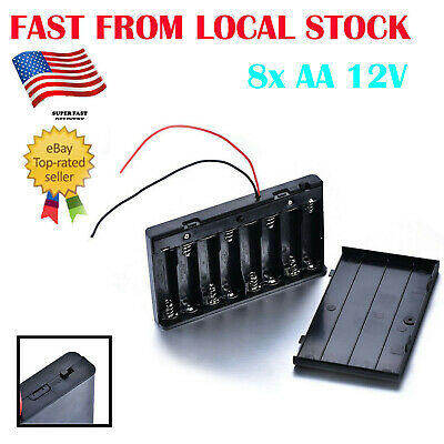 Battery Holder 8x AA 12V Battery DC Power Supply Portable Compact 12.6*7.1*2cm