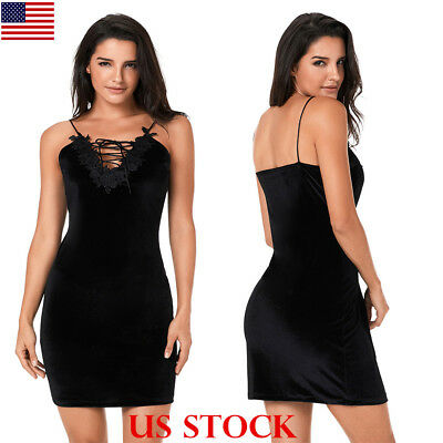 Fashion Women Little Black Dress Sexy Embroidery Lace Velvet Short Mini Dress US