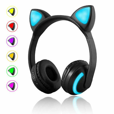 Wireless Bluetooth Stereo Gaming Headset Cat Ear LED Foldable Headphones W/ Mic