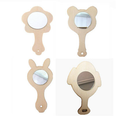 1pcs Unfinished Wood Wooden Mirror for Kids DIY Painting Crafts Toys
