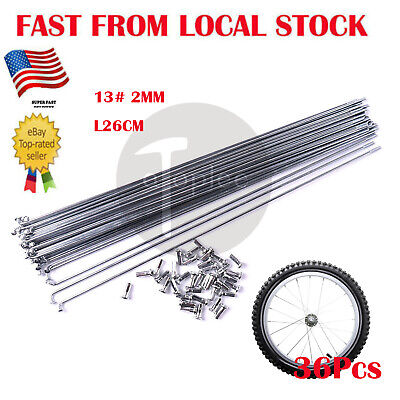 Bicycle Wheel Spokes Stainless Steel PG 2mm x 264mm 36pc Set Alloy Nipples