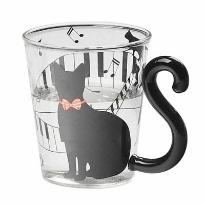 1x Lovely Cat Glass Mug Tea Milk Coffee Cup with Tail Handle New O8X6
