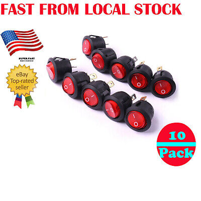 10 x RED ROCKER SWITCHES 12V ROUND TOGGLE ON OFF 12 VOLT CAR SNAP IN SWITCH