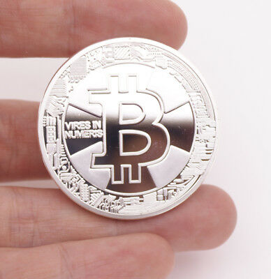 New 2018 Bitcoin Physical Collectible Coin Silver Plated 1 Ounce 40mm IN CASE