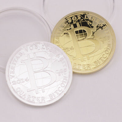 2 Pcs Bitcoin BTC Physical Collectible Coin Gold + Silver Plated Brand New