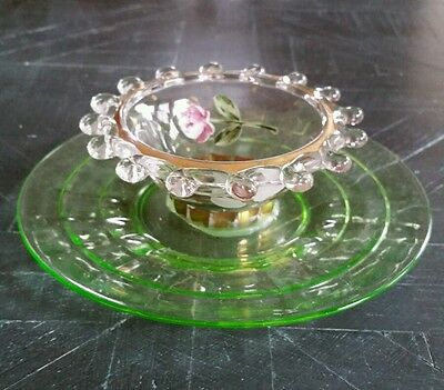 Heisey Lariat Bowl Paired w/Anchor Hocking Optic Green Glass Saucer Roses Gold