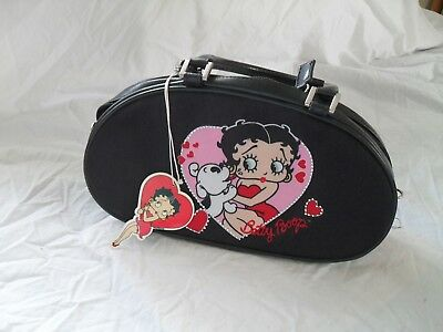 Betty Boop Black Leather & Cloth With Small Rhinestones Purse 2006