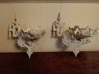 Pair of Antique 1800 Cast Iron Oil Lamp Wall Bracket Mounts White Original Paint