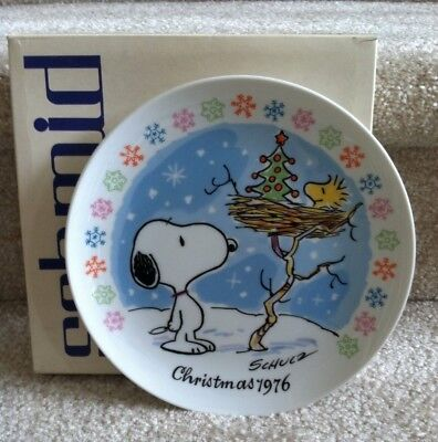 Schmid Peanuts 1976 Snoopy & Woodstock Tree Christmas Plate! FREE SHIPPING