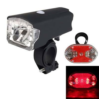 MTB Bike Bicycle LED USB Rechargeable Head Front Light & Red Rear Tail Lamp Kit