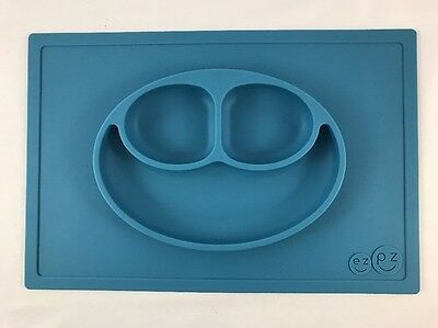 The Original EZPZ Happy Mat Blue Silicone Placemat Plate One Piece