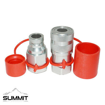 """1"""" SAE High Flow Flat Face Hydraulic Quick Connect Coupler Set, 1"""" Body"""
