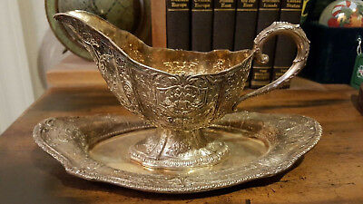 Vintage EG Webster and Son Gravy Boat With Matching Plate