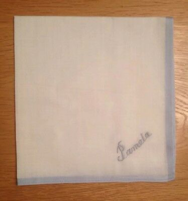 Cotton Handkerchief Embroidered with name 'Pamela'. White with blue edging.