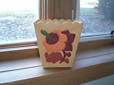 Vintage Ceramic Square Canister Floral, Fruit & Bird Pattern - Lone Survivor