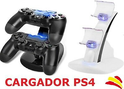 Base De Carga Para Mandos Ps4 Cargador Playstation 4 Leds Negro O Blanco