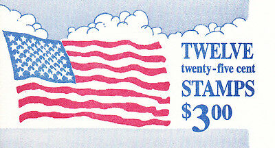 U.S. BOOKLET OF 12 SCOTT #BK161 25ct 1988 FLAG & CLOUDS MINT PLATE#1111 AT FACE
