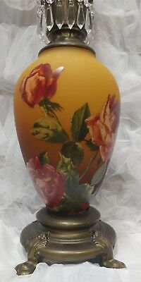 Victorian Trading Co Amber Gone with the Wind Roses LARGE Oil Lamp