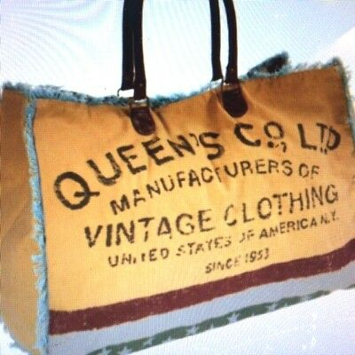 Mona B Queen Co. Ltd.Up-cycle Weekender Recycled Canvas Leather Bag NWT