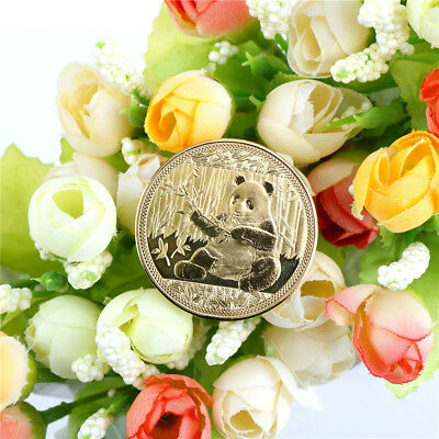 1PC gold-plated big panda baby commemorative coins collection art gift 2018