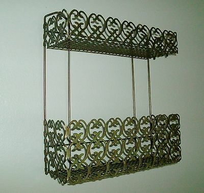 VTG Mid Century Modern Mesh Metal Ornate Retro 2 Tier Vanity Hanging Wall Shelf