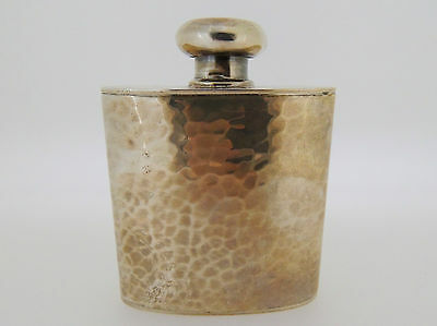20th C American Schroth Hand Made Sterling Silver Hammered Hip Flask - Retro SL