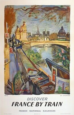 Original Travel Poster Discover France by Train Paris by Andre Planson 1953