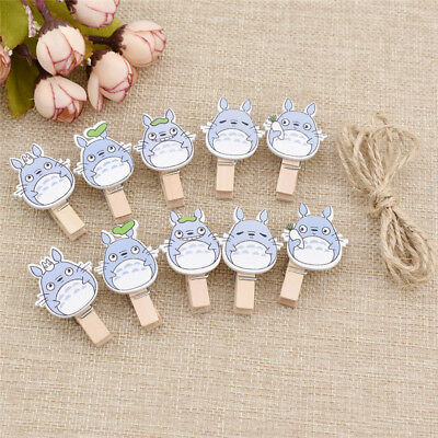 10 Pcs Totoro Clips Wooden household Items Cute Cartoon Characters Animation Art