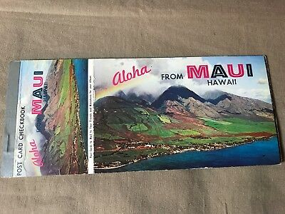 Postcard Checkbook of Maui, Hawaii, 8 uncirculated, have some storage wear