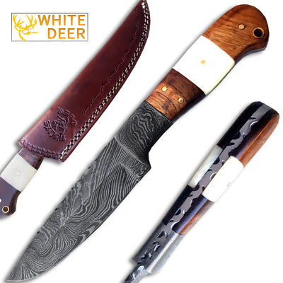 Geronimo Damascus Hunting Knife Full Tang Buffalo Bone Walnut-Wood Handle Custom