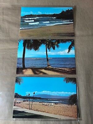 3 Postcards of Maui, Hawaii, uncirculated, storage wear, see pictures