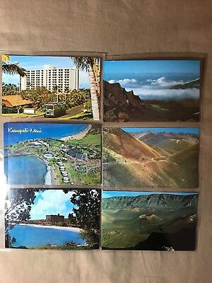 6 Postcards of Maui, Hawaii, 6 uncirculated, storage wear, see pictures