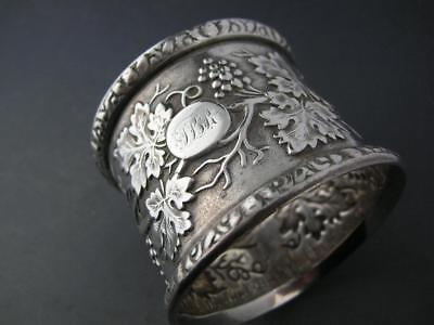Early Coin Silver NAPKIN RING ornate w/ grape leaf & vine pattern