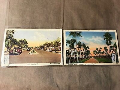 5 Vintage 1939, 1940, 1942 Postcards of Central America and Dominican Republic