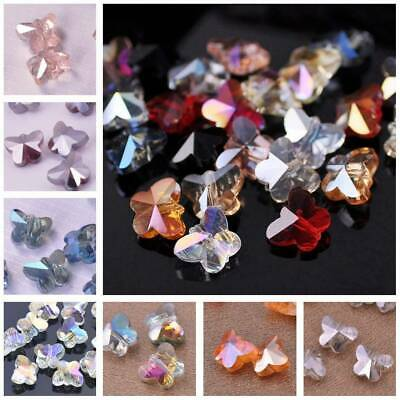 10pcs 10x8mm Butterfly Faceted Crystal Glass Loose Spacer Beads Finding Charms