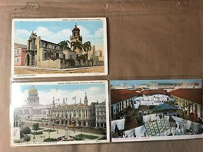 3 vintage Republic of Cuba Postcards, 1 posted, Some storage wear