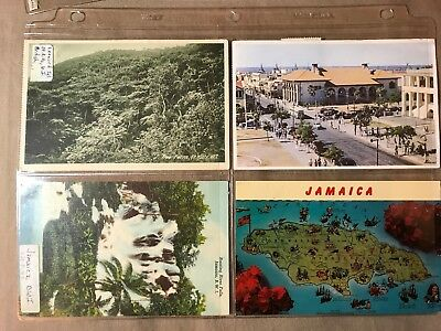 10 vintage Postcards of Jamaica and Virgin Islands, 6 posted, Some storage wear