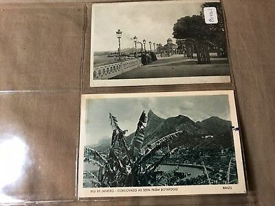2 Vintage Postcards of Brazil, 1 posted-1949, 1 unposted, Some storage wear