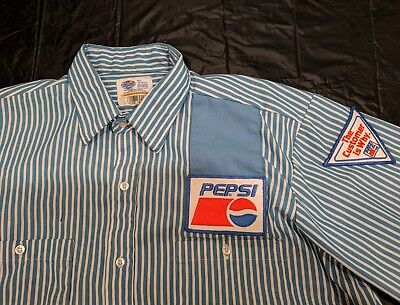 Vintage 1980's PEPSI COLA WORK SHIRT / Truck Delivery Driver / Medium /W/Patches