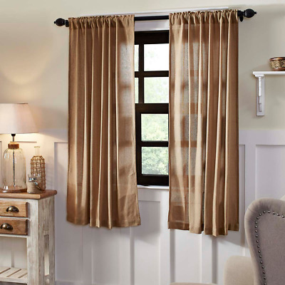 "Burlap Natural 63"" Panel Set CURTAINS Country Primitive Rustic"
