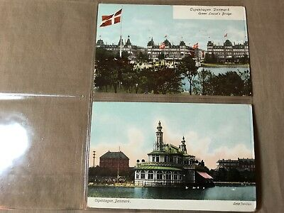 2 Vintage Postcards of Denmark unposted, Some storage wear, see pictures