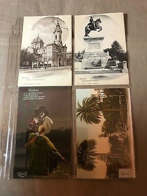 4 Vintage Postcards of Spain unposted, Some storage wear, staining see pictures