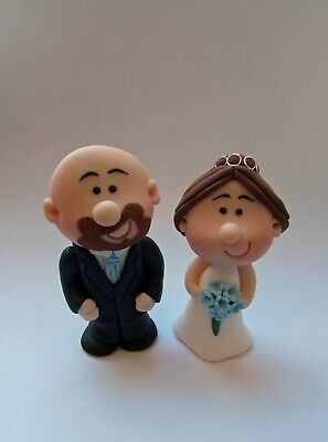 Wedding Cake Toppers Personalised Bride and Groom mini Topper, Choice of Colours