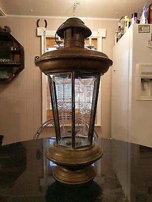 Stunning Early 1800s Cut Glass Solid Brass Carriage or Inn Candle Lamp
