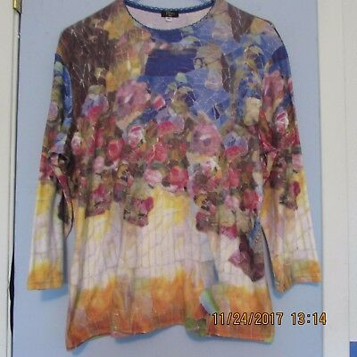 Tiffany Tea XL stained glass multi-color 3/4 sleeve knit top