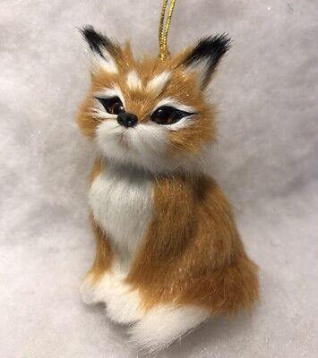 Red fox christmas tree ornament Faux Fur Woodland